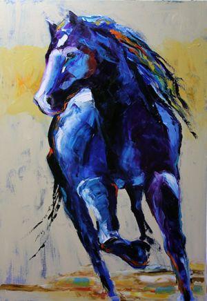 Blue Horse - Huile sur toile par Laurie Pace, artiste du Texas.