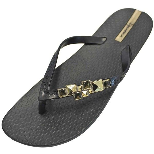 Black & Gold Ipanema Mystic Bejeweled Strap Flip Flops ($18) ❤ liked on Polyvore featuring shoes, sandals, flip flops, black, flip flops women, footwear, ipanema flip flops, jeweled sandals, black jeweled sandals and embellished sandals