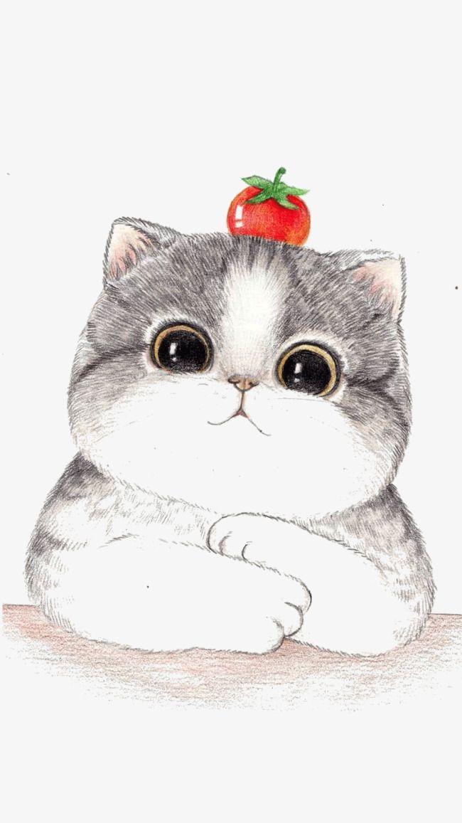 手描き手描き可愛い猫 猫 イラスト かわいい イラスト ねこ ネコ イラスト