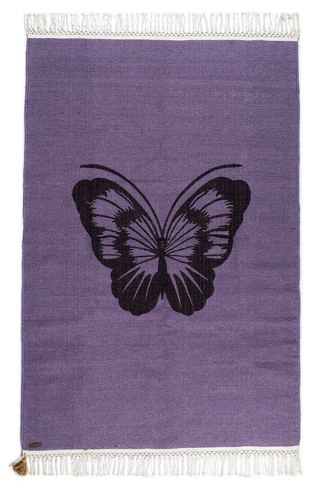 Tapis Varanassi imoression Papillon. Tissage kilim, Tapis tissé à la main. Laine ou coton.