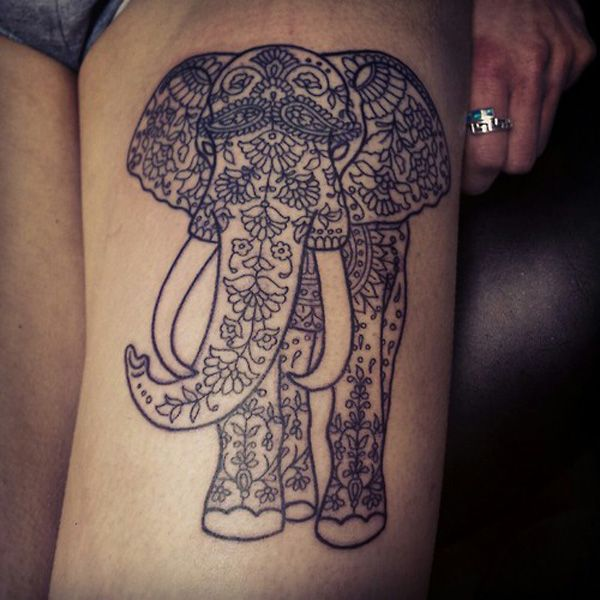 22 Thigh elephant tattoo- usually don't like the elephant tattoos with design, but this Is beautiful!