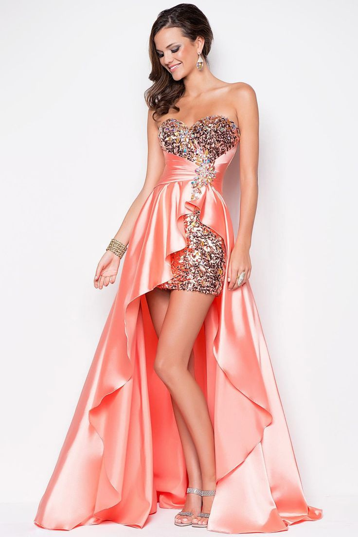 2013 Prom Dresses High Low Sweetheart Elastic Satin With Rhinestone USD 169.99 LPRAA5ZQY - Labeautes.com