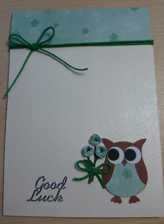 "https://www.etsy.com/shop/SarahLouCards Stampin UP cute handmade ""Good Luck"" card featuring an owl holding a bunch of flowers http://www.etsy.com/uk/shop/SarahLouCards"