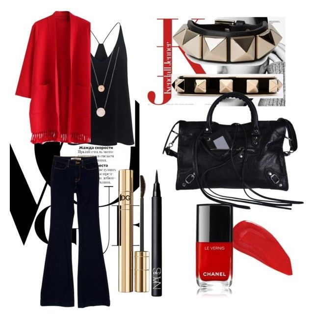 Untitled #11 by wearitblack on Polyvore featuring Chicwish, J Brand, TIBI, Balenciaga, Valentino, Michael Kors, Dolce&Gabbana, Christian Louboutin and NARS Cosmetics