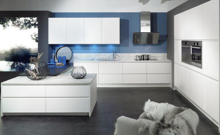 Cette cuisine a t pens e pour donner une v ritable for Cuisine blanc gris bleu