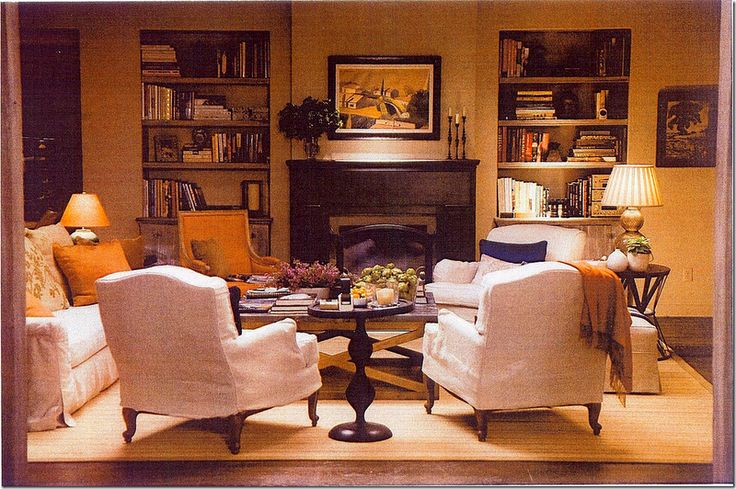 """Living room from Nancy Meyers' """"It's Complicated"""" - white slipcovered formal furniture"""