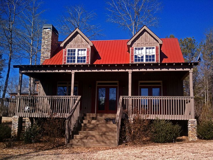 The Runaway is a small lake house cottage that will work great at the lake, in the mountains or on a small lot. The floorplan has three bedrooms and a covered porch on the front.