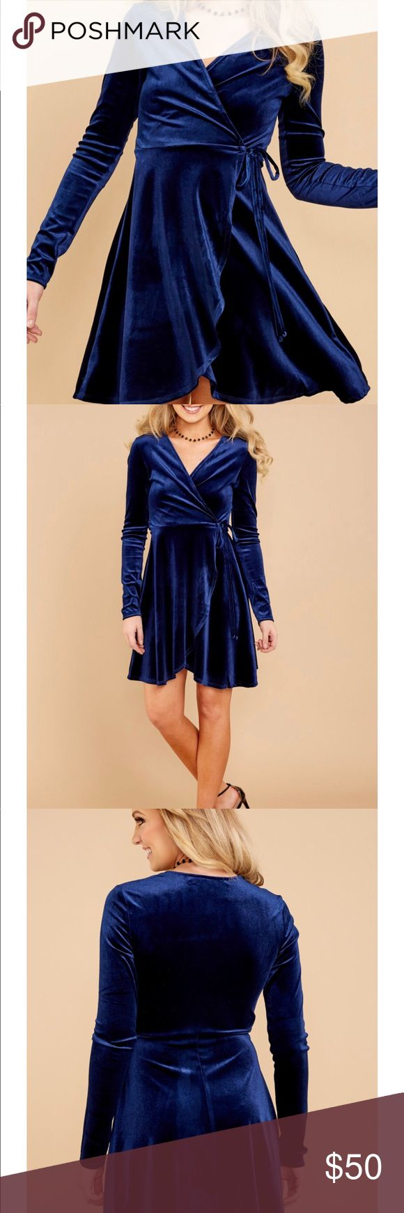 NWT Blue Velvet Dress SZ L Bought from red dress boutique!! Never worn! Paid $42 so trying to get my money back red dress boutique Dresses Mini