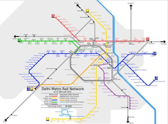 A Handy Map of the Delhi Metro: Map of Delhi Metro Train Network