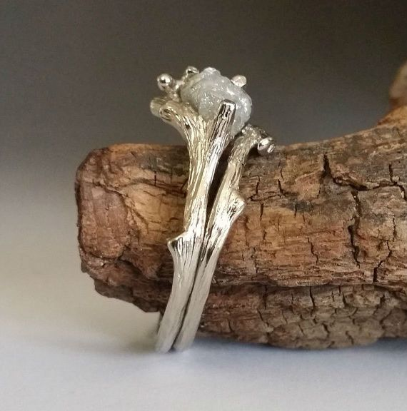18k Twig Engagement Ring Raw Uncut White or by DawnVertreesJewelry