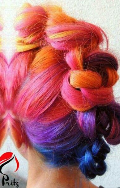 Purple orange pink braided dyed rainbow hair color @pripritz