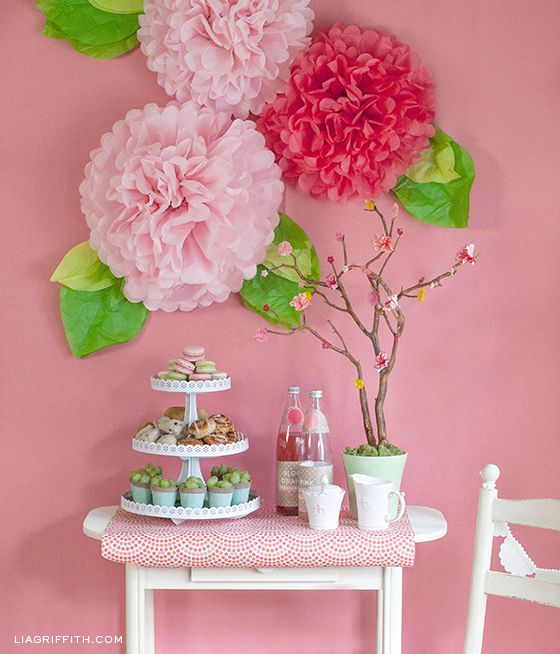 Springs In Bloom | Mother's Day Brunch | Mothers-Day-Side-Table- Get Poms at Paper Source http://www.papersource.com/item/Large-White-Tissue-Paper-Pom-Poms-Kit/887394000003.html