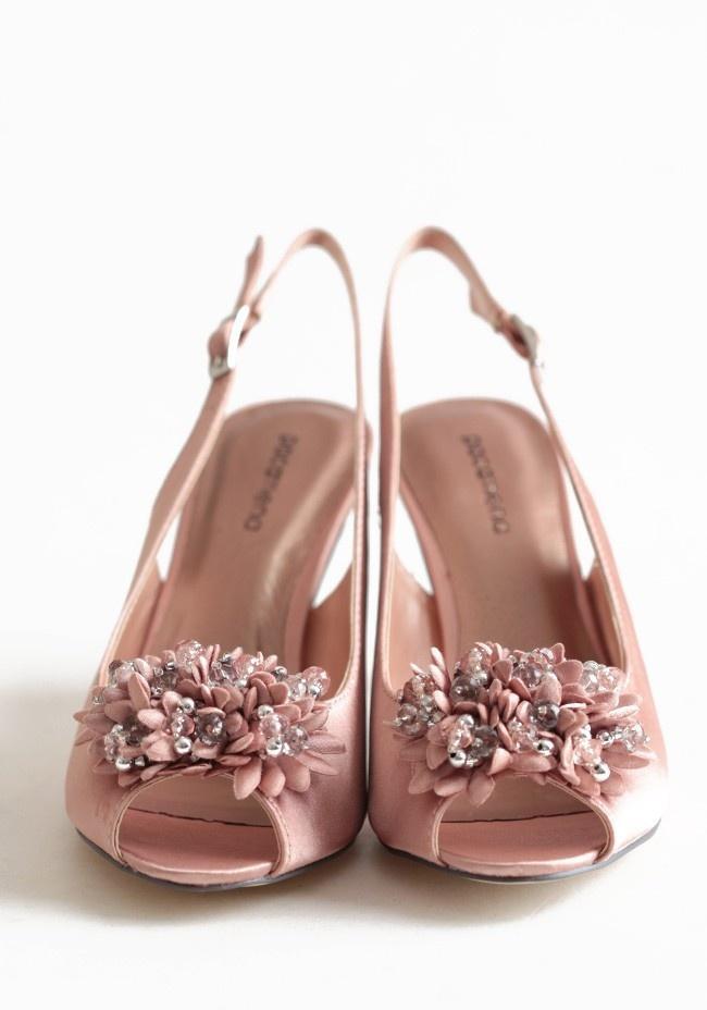 $84.99 dusty pink satin sling back heels. First Dance Heels | Modern Vintage Shoes | Modern Vintage Bridal