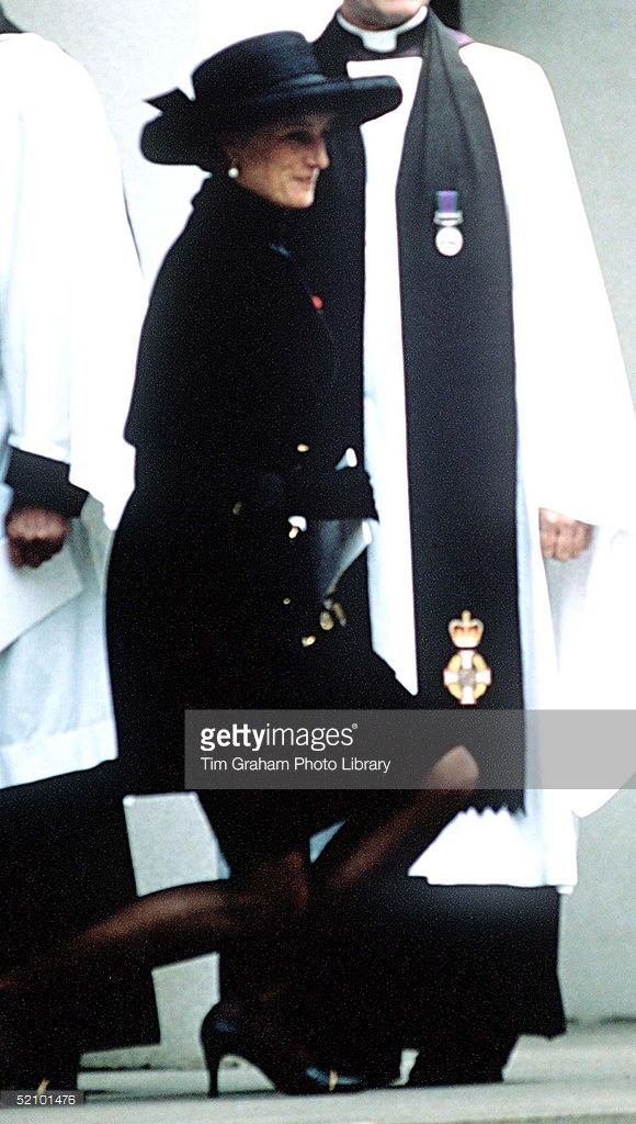 Princess Diana Curtsying To The Queen At The Funeral Of