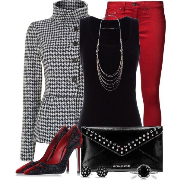 Black & White & Red All Over, created by luluchella on Polyvore