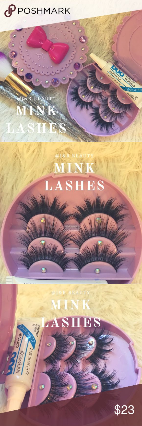Mink lashes + Case+ Glue All brand new include ✅3 kinds of mink lashes ✅eyelash case ( available in white, mint, pink) ✅waterproof glue Add on +$2 applicator Only 1 available ❣️ Case can be customized ✨ Message me if you like to have a different one ⭐️ # tags Iconic, mink, red cherry eyelashes, house of lashes, doll, kawaii, case, full, natural, Koko, Ardell, wispies, Demi , Makeup Makeup False Eyelashes