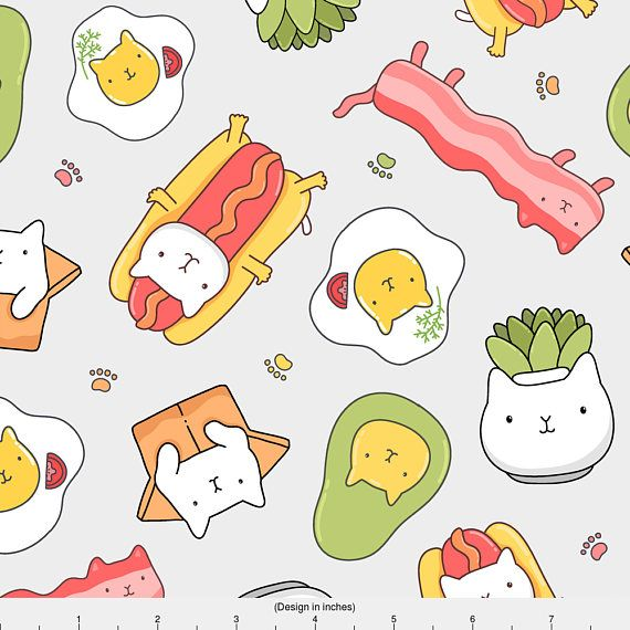 1 yard (or 1 fat quarter) of Cat hotdog, cat succulent, catvocado, egg cat, bacon cat. by designer kostolom3000. Printed on Organic Cotton Knit, Linen Cotton Canvas, Organic Cotton Sateen, Kona Cotton, Basic Cotton Ultra, Cotton Poplin, Minky, Fleece, or Satin fabric.  Available in yards and quarter yards (fat quarter). This fabric is digitally printed on demand as orders are placed. Unlike conventional textile manufacturing, very little waste of fabric, ink, water or electricity is used. We…