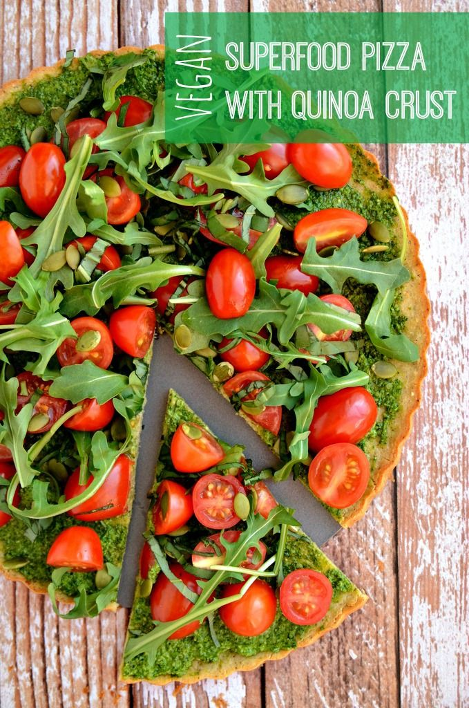 Vegan + Gluten-Free Superfood Pizza with Quinoa Crust | blissfulbasil.com