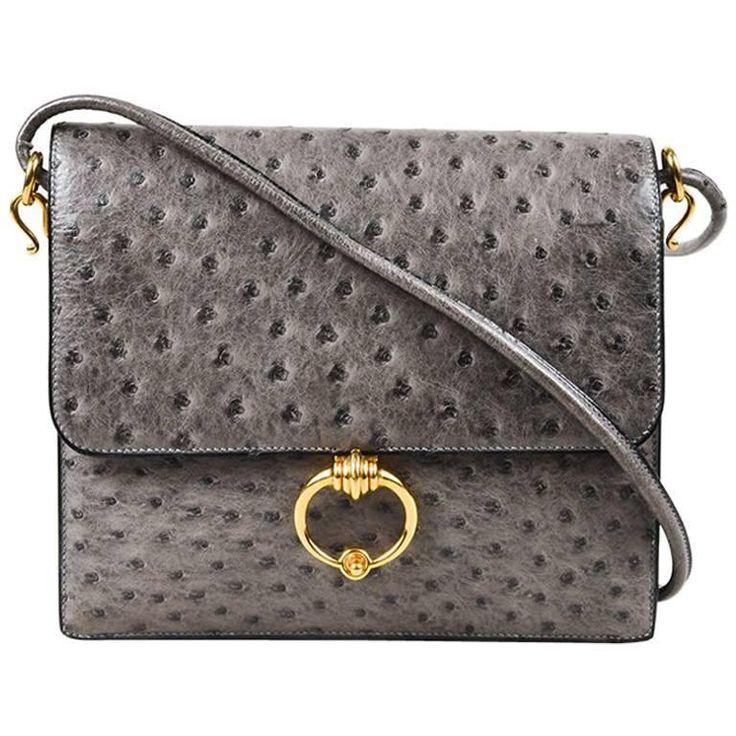 Vintage Hermes Gray Gold Tone Ostrich Leather Flap Shoulder Bag