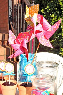 Garden-Themed Birthday Party  Flower Pinwheels Activity