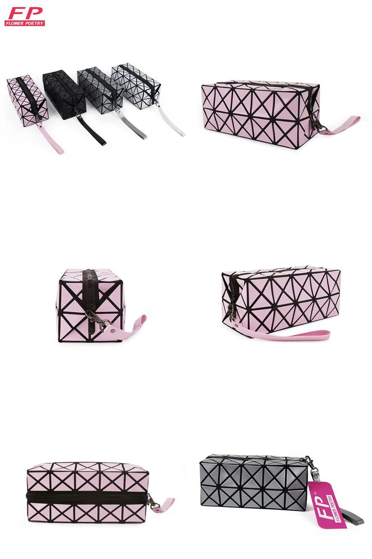 [Visit to Buy] Fashion Geometric Zipper Cosmetic Bag Women Laser Diamond  Leather Makeup Bag Ladies Cosmetics Organizer Storage Bags Trend 2016 #Advertisement