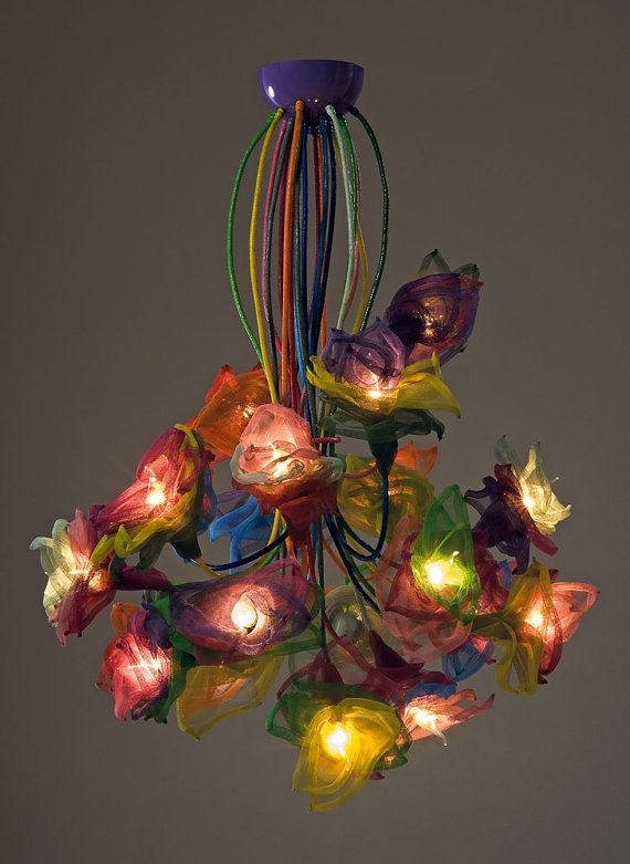 Handmade Ceiling light chandelier flowers 20 by FMFOS on Etsy, €190.00 *can do custom...but color...another cool thing.