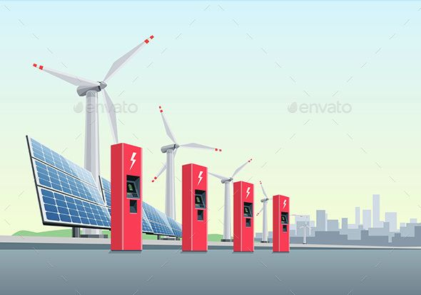 Electric Charging Station in Front of Windmills and Solar Panels