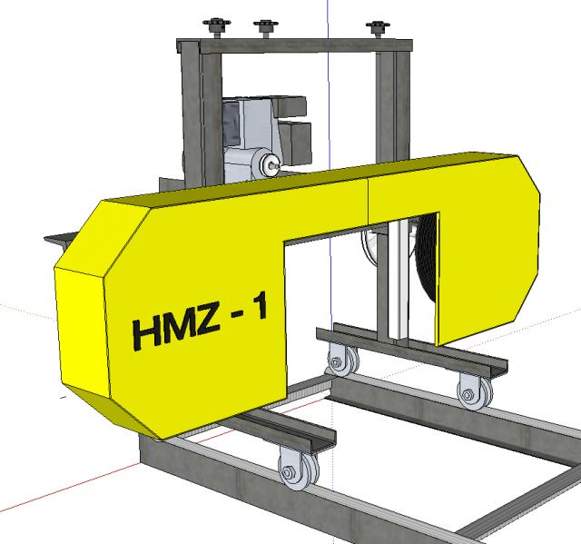 Homemade bandsaw mill plans. Low cost sawmill using salvage car parts and other used materials. Great DIY project. Make your own lumber.
