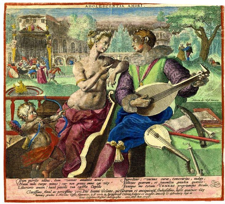 """Adolescentia Amori"" by Crispijn de Passe after Marten de Vos 1596"