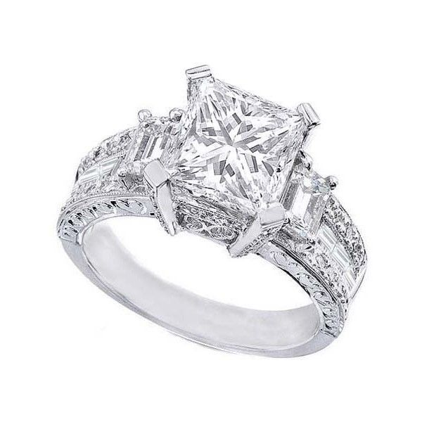 Engagement Ring - Princess Cut Diamond Vintage style Engagement Ring Setting with Emerald Cut side Stones