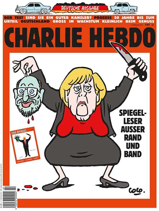 """""""Charlie Hebdo""""-Cover zeigt Karikatur von Merkel als Henkerin mit dem abgetrennten Haupt des  SPD-Kanzerkandidaten Martin Schulz in der rechten Hand. Auf dem Cover prangt auch das aktuelle Titelblatt des """"Spiegel"""". (Quelle: dpa)"""