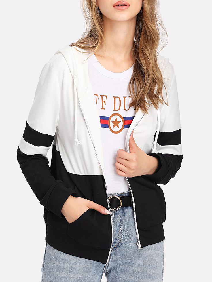 Shop Two Tone Zip Up Hoodie Jacket online. SheIn offers Two Tone Zip Up Hoodie Jacket & more to fit your fashionable needs.