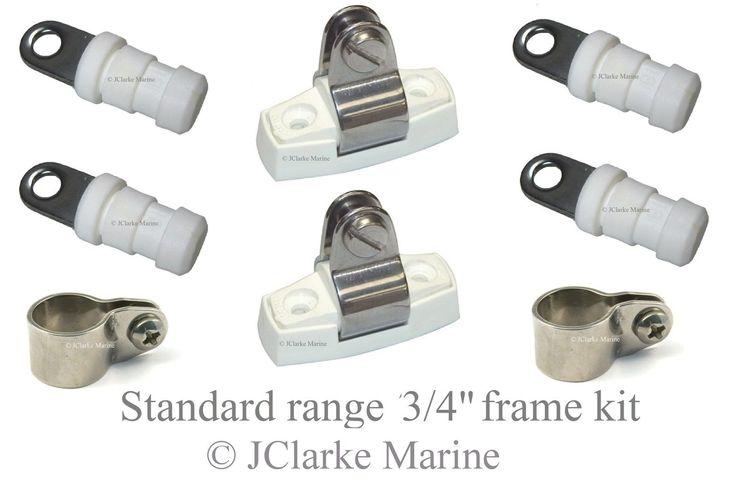 "3/4"" Standard range boat canopy frame kit sprayhood binimi cover end cap clamps"