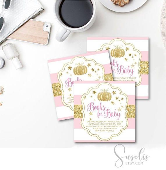 Books for the Baby Insert Card Baby Shower Fall Baby Pink