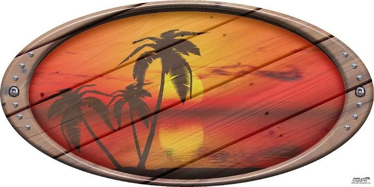Oval wood tropical sunset rv camper motorhome mural vinyl graphic decal