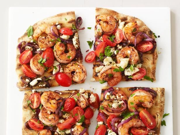 Skip delivery and use frozen dough for this Grilled Shrimp Pizza. #GrillingCentral: Food Network, Foodnetwork Nomspir, Maine Dishes, Foodnetwork Com, Dinners, Pizza Recipes, Shrimp Pizza, Grilled Pizza, Grilled Shrimp