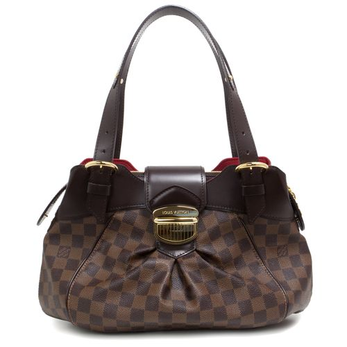 """Authentic Louis Vuitton Damier Ebene Sistina PM  CONDITION: Very good. Scuffs on hardware, faint markings and light creasing on leather.  Material: Canvas Color: Ebene Date Code: FL3069 Exterior Features: Adjustable leather top handles, top zipped opening, push button clasp, gold tone hardware Interior Features: Red microfibre lining, two open pockets Measurements: 14"""" x 9"""" x 5"""" Included: Louis Vuitton dust pouch SKU: HA02084"""