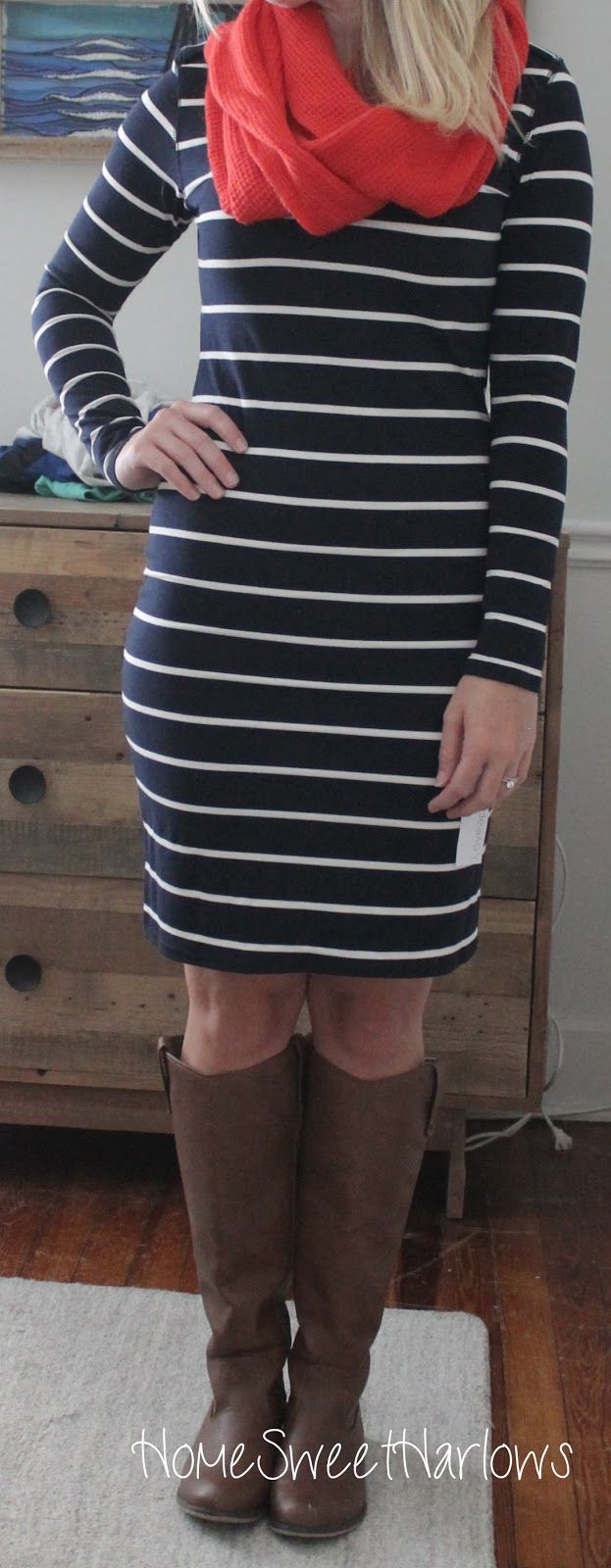 I would love a soft knit longs leave dress to wear with leggings and boots. I like the stripes but would it make me look more hippy than I already am?  Home Sweet Harlows: Stitch Fix Review: Fix #5