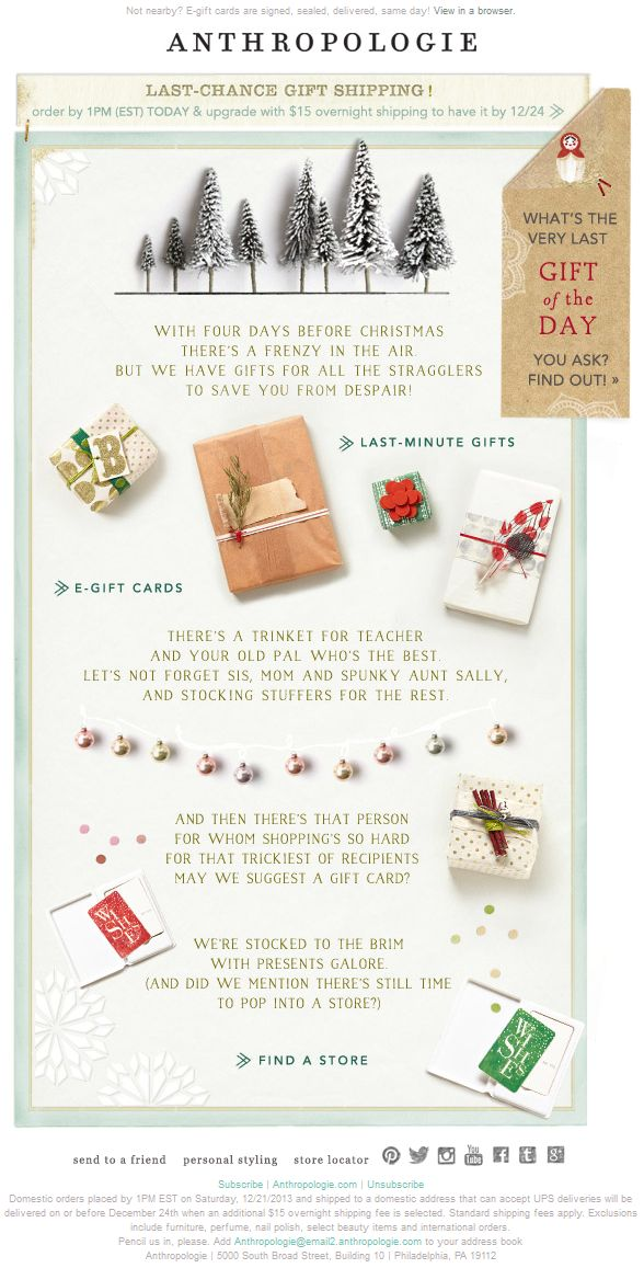 Anthropologie - last day for holiday delivery shipping upgrade; e-gift card & gift plug; fun seasonal poem
