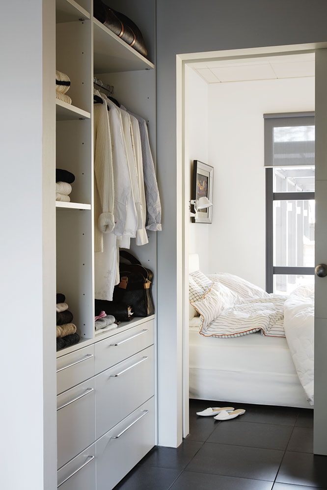 Closet space going into the bathroom