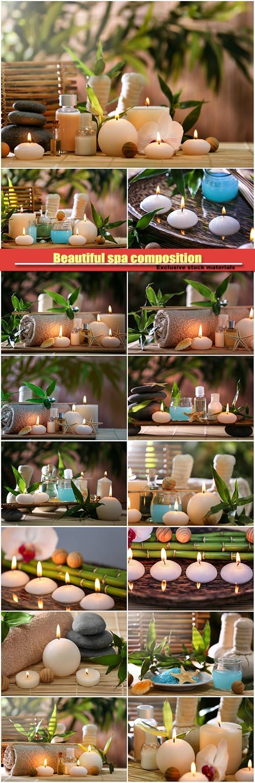 Beautiful spa composition on bamboo mat, candles on wooden plate