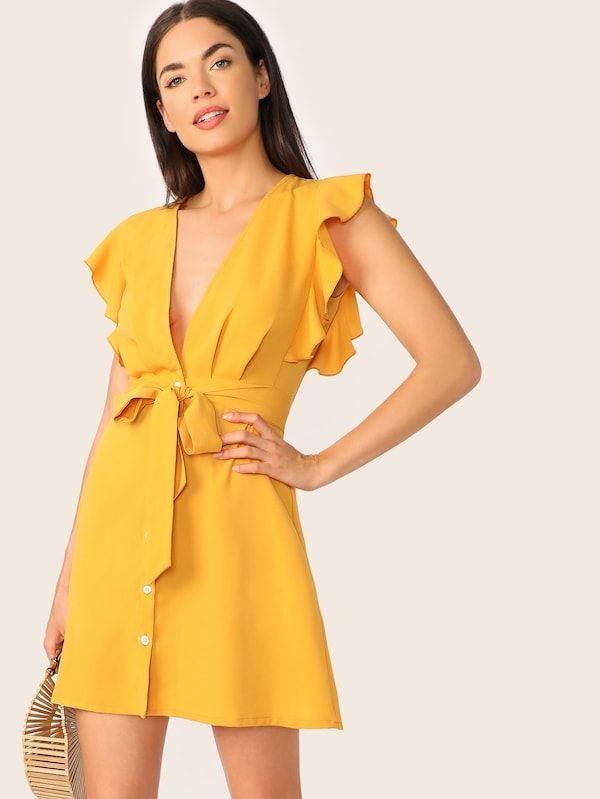 fa787d93b5 Plunging Neck Ruffle Armhole Belted Shirt Dress | SHEIN | II DRESSES ...