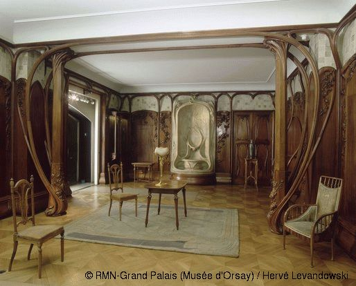 reminds me of the elven design in LOTR movies: Alexandre Charpentier (1856-1909) Dining room panelling Between 1900 and 1901 Mahogany, oak, poplar, gilt bronze, glazed stoneware H. 346; W. 621 cmP aris, Musée d'Orsay
