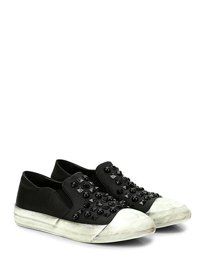 OXS - Sneakers - Uomo - Sneaker in pelle con borchie su tomaia e suola in gomma. Tacco 30. - BLACK - € 249.00