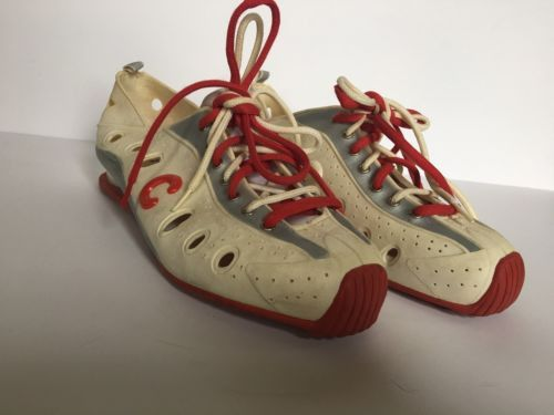Click Women's Rubber Shoes Cream and Red with Double Laces Size 10