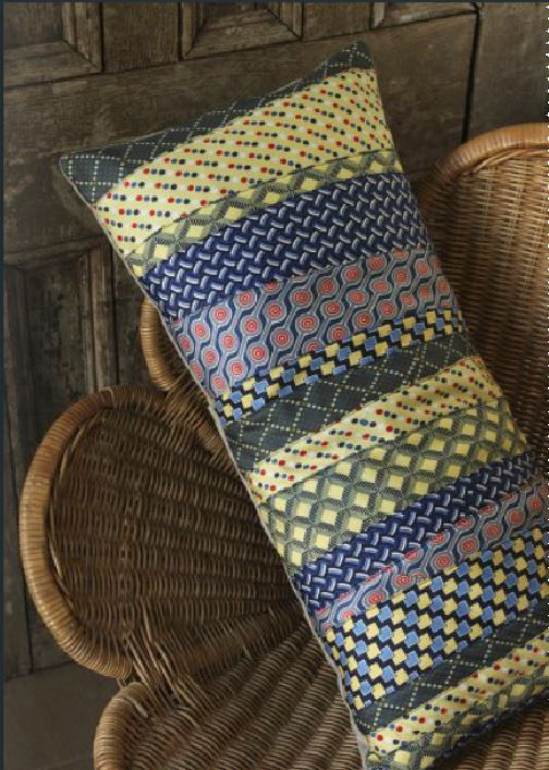 Patchwork tie pillow - nice way to reuse old ties! :)