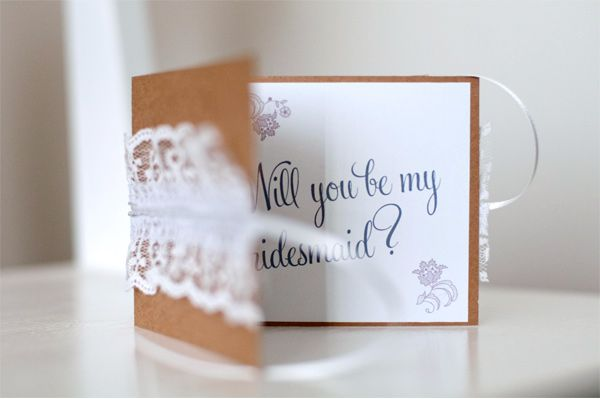 """DIY kraft & lace """"Will you be my bridesmaid?"""" cards from Bayside Bride. Love these."""