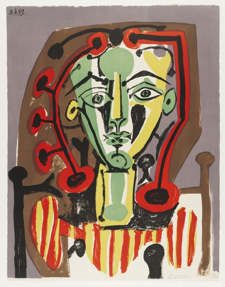 9/30/16 http://www.moma.org/collection/works/71218?locale=en In this lithograph, Figure with Striped Bodice, Pablo Picasso used a triad, purple, orange and green, as well as the complementary colors, red and green/ purple and yellow. I like how the subject was expressed while the abstract component was also maintained.
