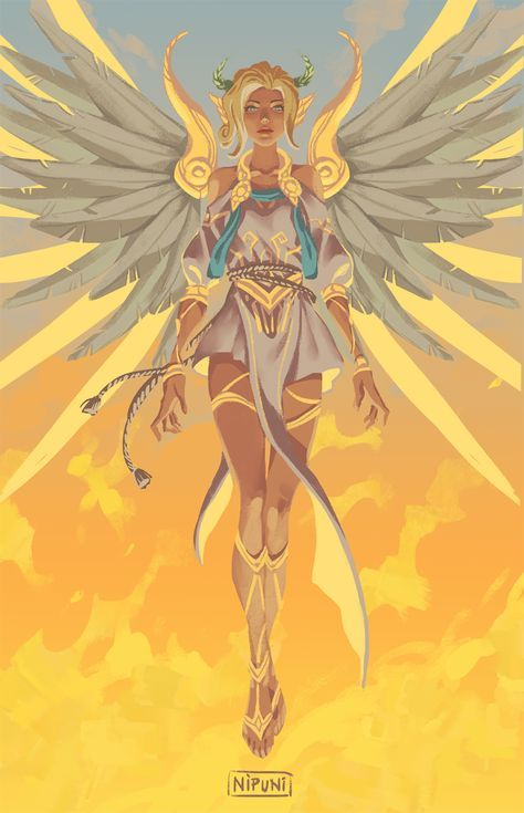 Nipuni - Repent - More at https://pinterest.com/supergirlsart #overwatch #mercy #winged #victory #greek #goddess #nike #summer #games