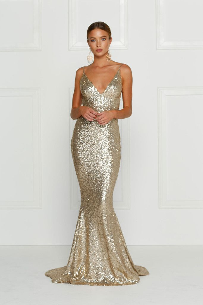 Alamour The Label - Yassmine Gold Mermaid Gown